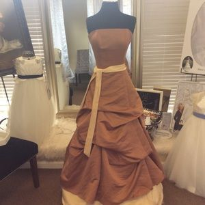 Dresses & Skirts - Bronze Gold Satin Ball Gown